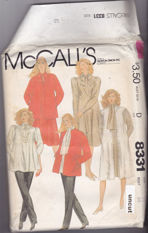 McCall's 8331 Uncut 12 Maternity Career Separates 1980s like Murphy Brown
