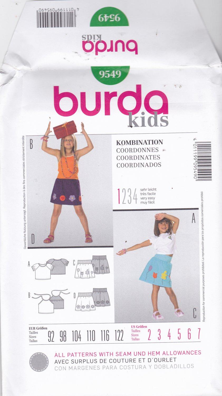 Burda 9549 Uncut 2 3 4 5 6 7 Applique Skirt Halter Top Girls Toddlers Easy