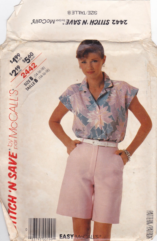 McCall Stitch 'N Save 2442 Flat Front Bermuda Shorts Top 14 16 18 Uncut