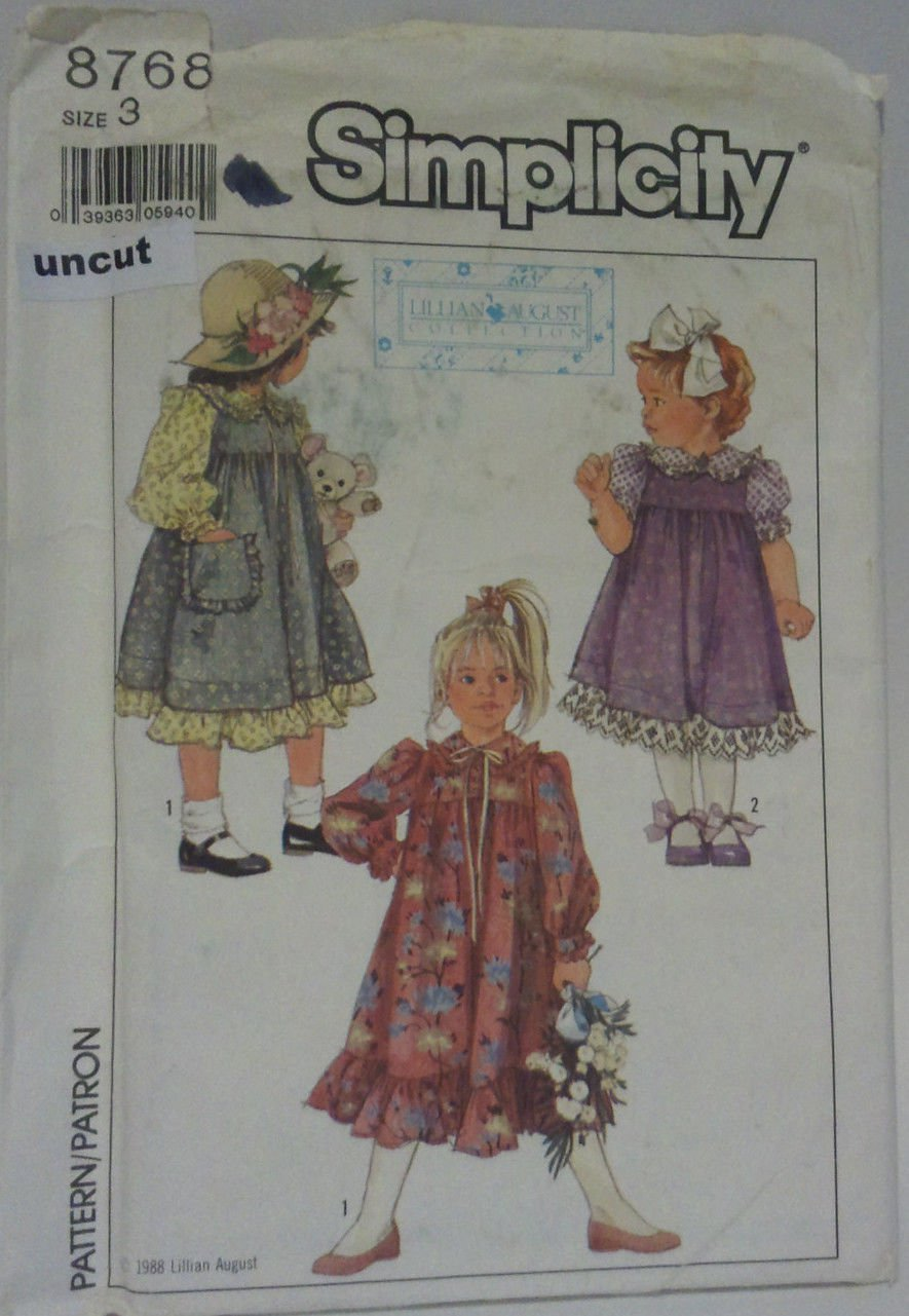Simplicity 8768 Pattern Uncut Dress Jumper Lillian August Girls size 3