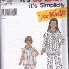 Simplicity 9400 Girls 3 4 5 6 7 8 10 12 Pajamas Sleep Wear Uncut