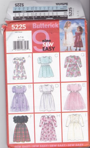 Butterick 5225 Girls 6 7 8 Uncut Party Dresses Long Short Puffy Sleeves