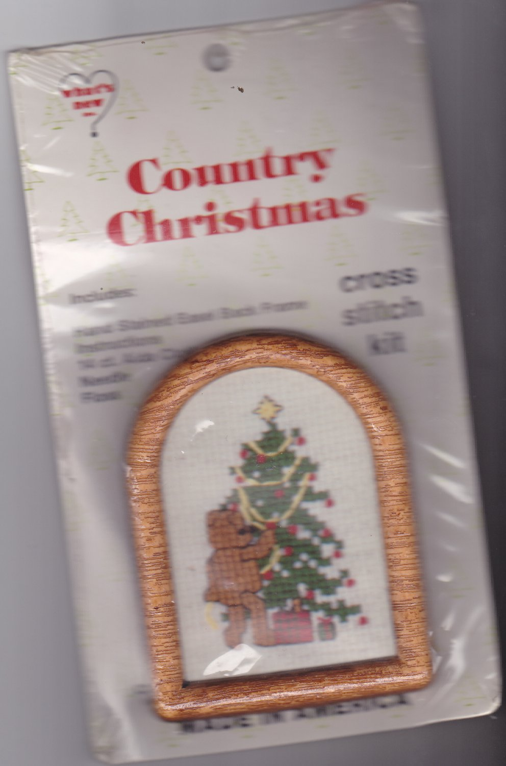 What's New Cross Stitch Ornament Kit Country Christmas Teddy W/ Tree 2x3 inches