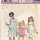 Simplicity 7509 Uncut 7 Girls Shortie Pajamas Night Gown Robe PJs