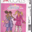 McCall M4708 Pattern Uncut 7 8 10 12 Girls Robe Belt Pajama Top Ruffled Pants Lips Bag
