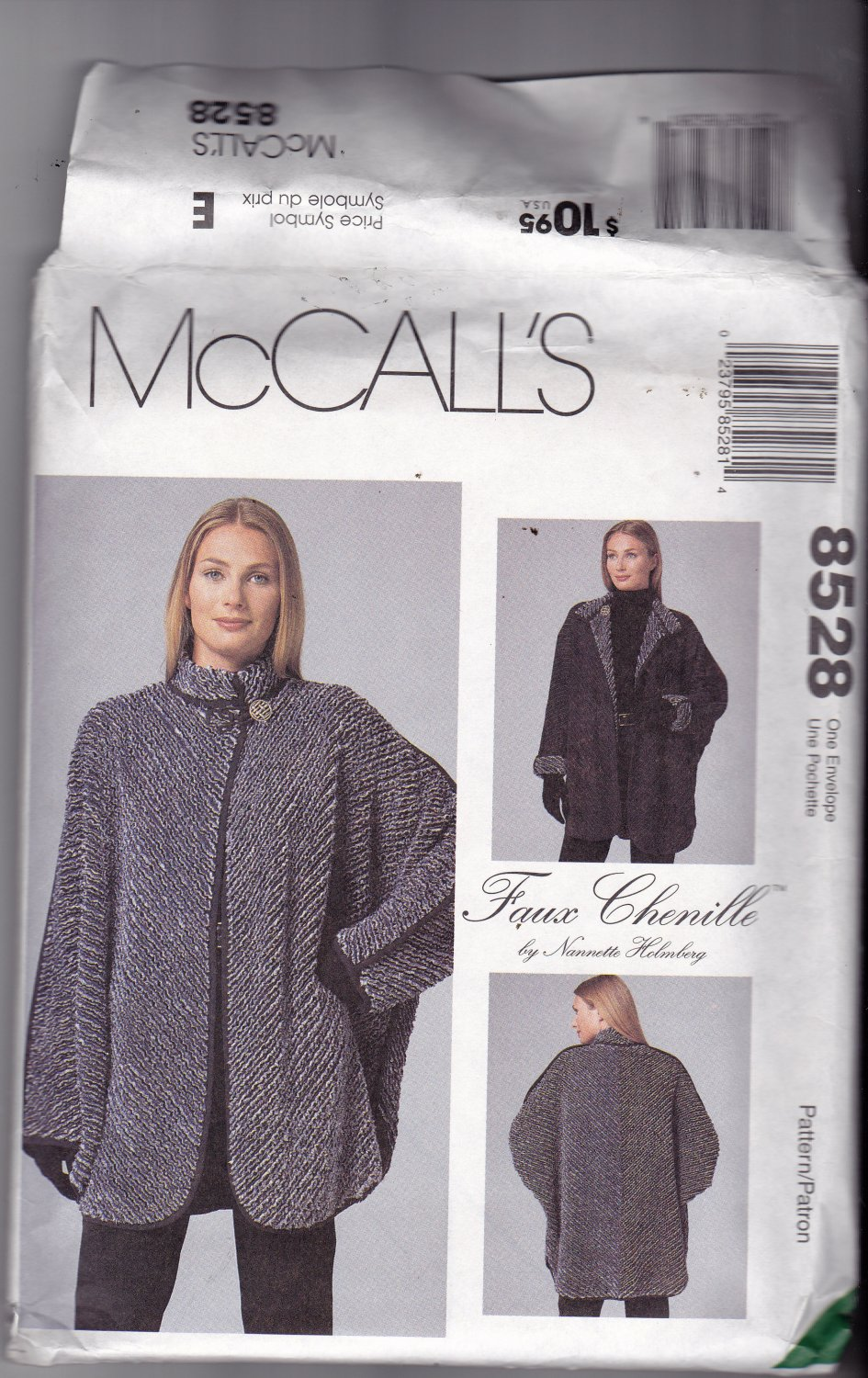 McCall's 8528 Uncut 6 8 10 12 14 16 18 20 22 24 Plus Uncut Faux Chenille Craft Jacket