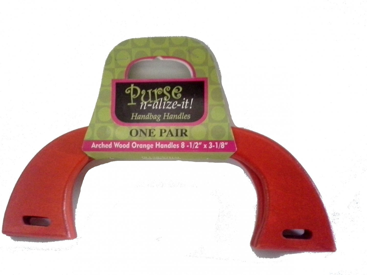 Arched Wood Red Orange Purse Handles 8.5 x 3.125 inches for Handbag