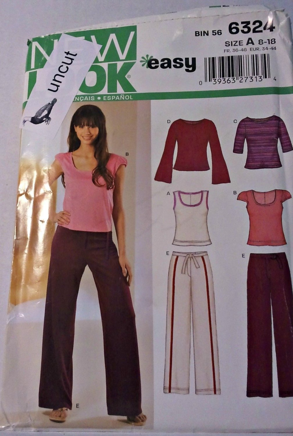 Simplicity New Look Pattern 6324 Pants Tops for Stretch Knits Uncut 8 10 12 14 16 18