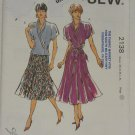 Kwik Sew 2138 Pattern Summer Draped Blouse Six Gore Skirt XS S M L XL Uncut