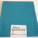 Joann Cotton Quilting Fabric FQ 1/4 yard Aqua Blue Calico