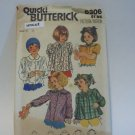 Butterick 6306 Girls 6x Button Front Blouse Peter Pan Collar uncut