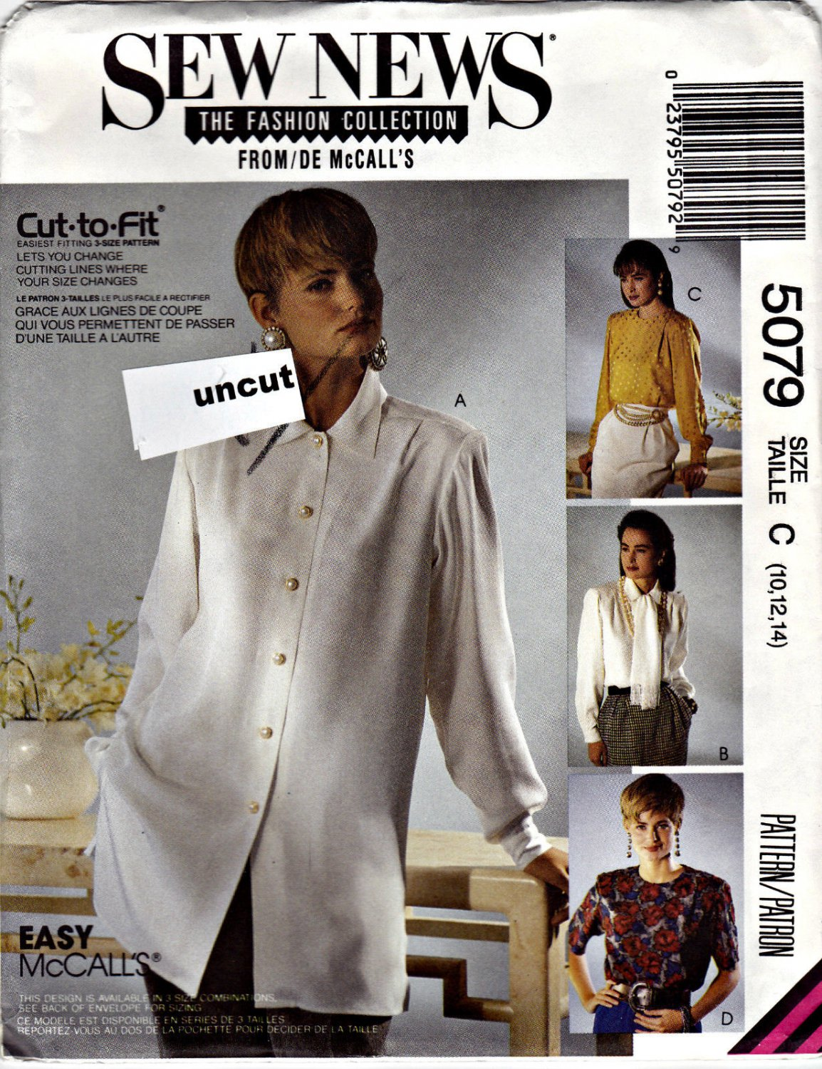 5079 Sew News McCalls Pattern 10 12 14 Uncut Blouse Scarf