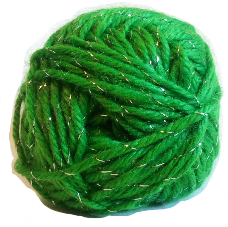 Acrylic Sparkle Yarn Green 1.75 oz 50g 90 yd 82 m Worsted Weight 4