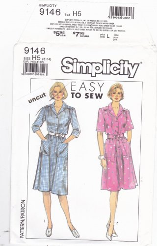 Simplicity 9146 Pattern 6 8 10 12 14 Button Front Dress Shirtdress Uncut