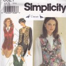 Simplicity 8621 Uncut Classic Lined Vest 10 12 14 Shaped Hem Fitted