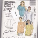 McCall 4905 Pattern size 12 Palmer/Pletsch Button Front Blouse Lower Band Uncut