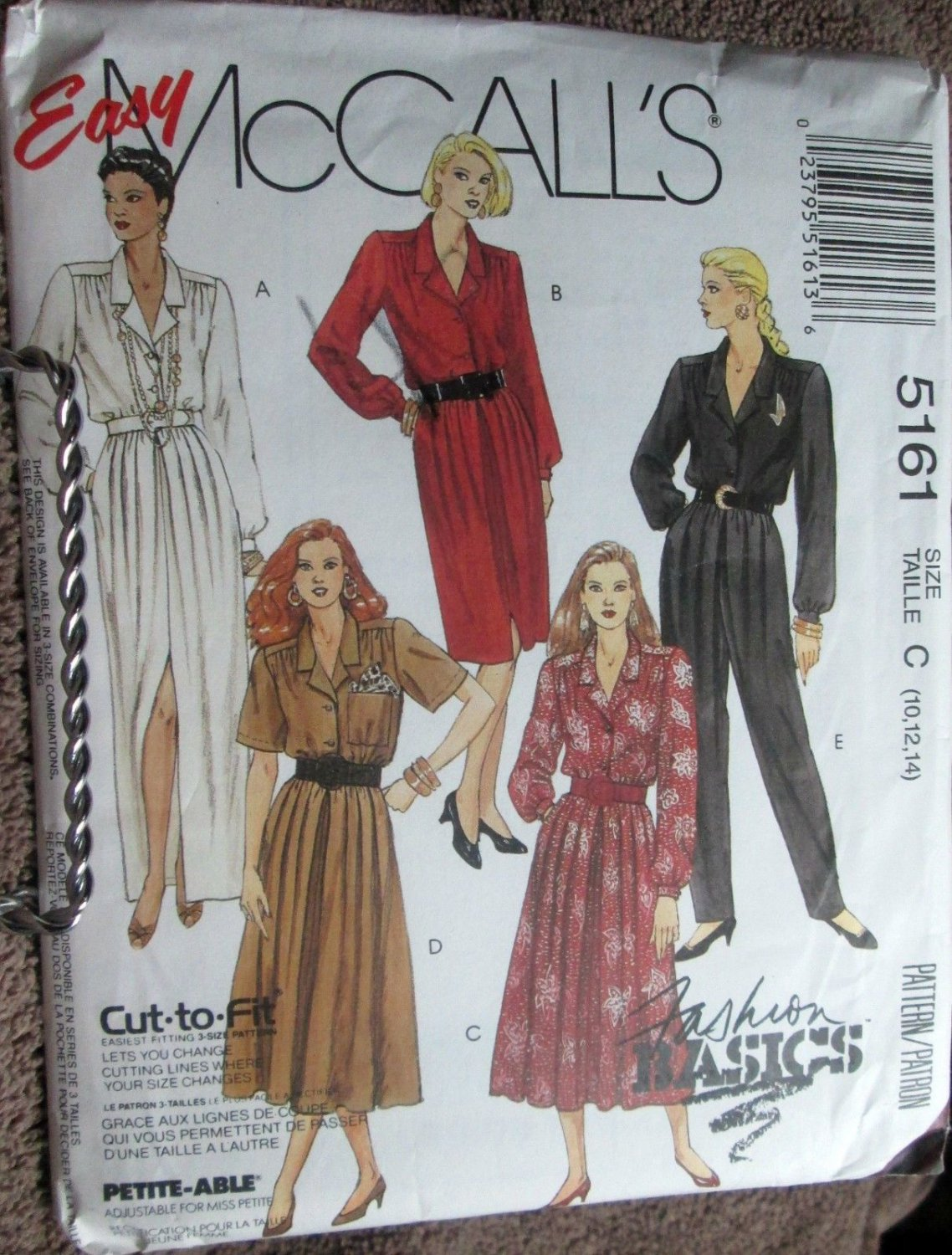 McCall 5161 Dresses Jumpsuit Pattern 10 12 14 uncut Easy Sewing