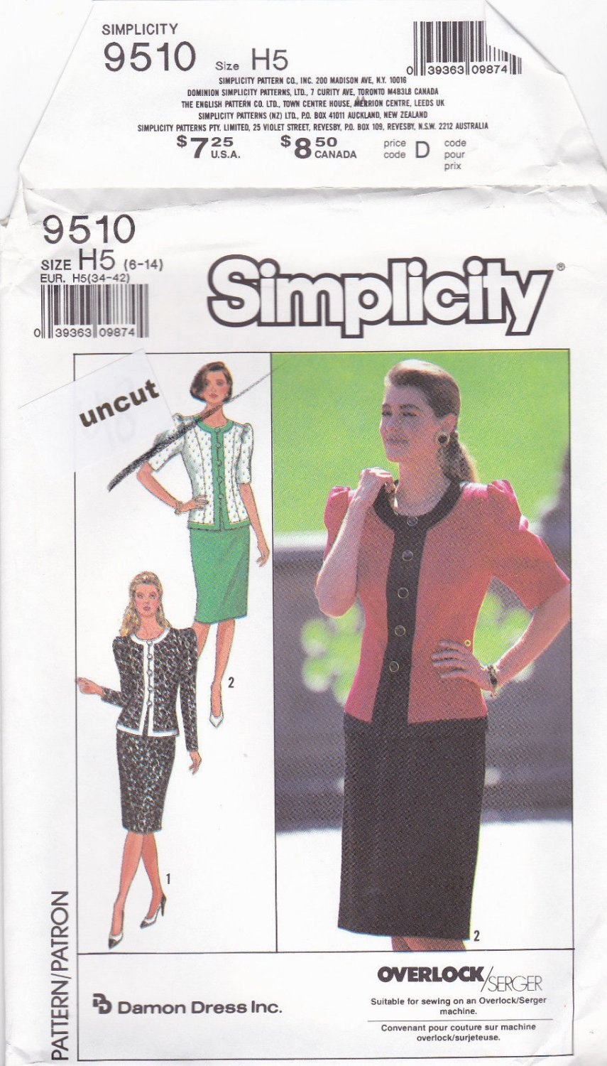 Simplicity 9510 Pattern 6 8 10 12 14 Two Piece Dress Jacket Skirt Puffy Sleeves Uncut