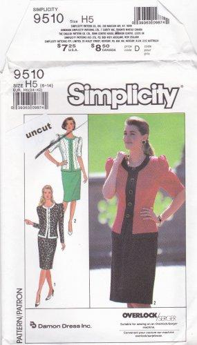 Simplicity 9510 Pattern 6 8 10 12 14 Two Piece Dress Jacket Skirt Puffy Sleeves Uncut