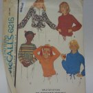 Vintage McCall 6215 Pattern Uncut Tops Cowl Hoodie Girls 7 for Knits
