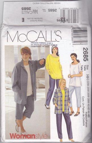 McCall's 2685 Pattern 22w 24w 26w 28w Plus Uncut Shirt T-Shirt Top Pants Capris