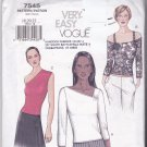 Vogue 7545 Uncut 18 20 22 Top Asymmetrical Neckline One Shoulder or Shoulder Straps Easy