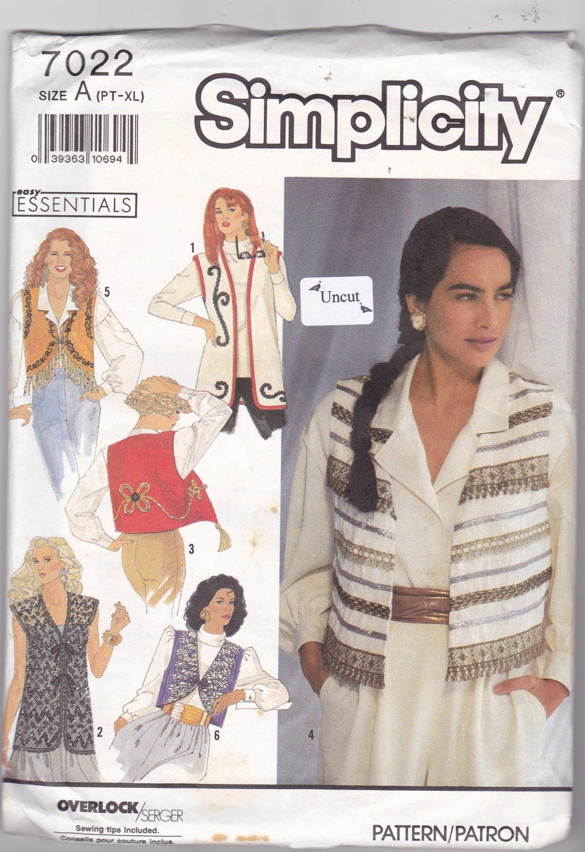 Simplicity 7022 Uncut Decorated Vests 6 8 10 12 14 16 18 20 22 24 Below Hip or Waist Length