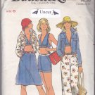 Butterick 4234 Uncut size 8 Jean Jacket Halter Top Skirt Pants Shorts