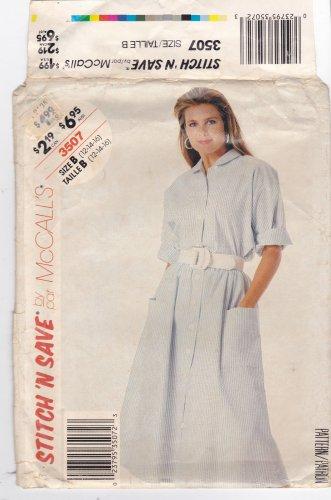 McCall Stitch 'N Save 3507 Modest Button Front Shirt Skirt 12 14 16 Uncut