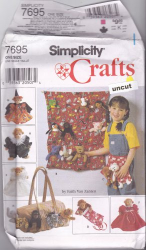 Simplicity 7695 Pattern Uncut Accessories Clothes for Beanie Bean Bag Animals