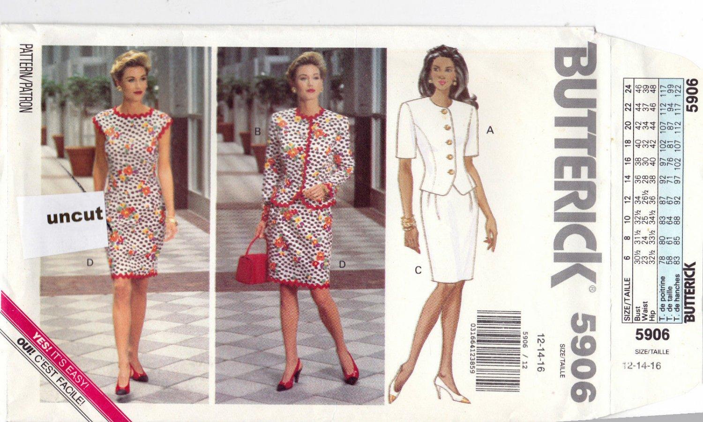 Butterick 5906 Pattern 12 14 16 Uncut Easy Jacket Dress optional rickrack