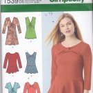 Simplicity 1539 uncut 4 6 8 10 12 Tunic Top Peplum Asymmetrical for Knit Fabrics