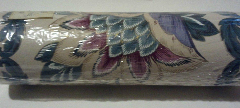 Green Blue Rose Tan on Cream Jacobean Floral Wallpaper Border 5 Yards x 6-3/4 in