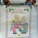 Daisy Kingdom Bucilla Stamped Cross Stitch Sampler Fabric Happy Holly Days