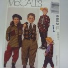 McCall 6682 Pattern Lined Vest Shirt Pants Tie Uncut 2 3 4 Toddlers