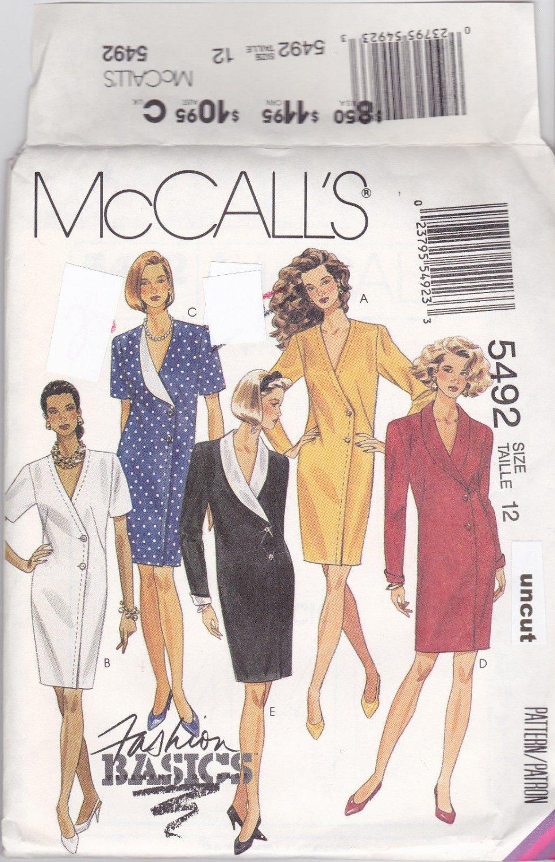 Easy McCall 5492 Pattern Asymmetrical Chemise Dress size 12 Uncut