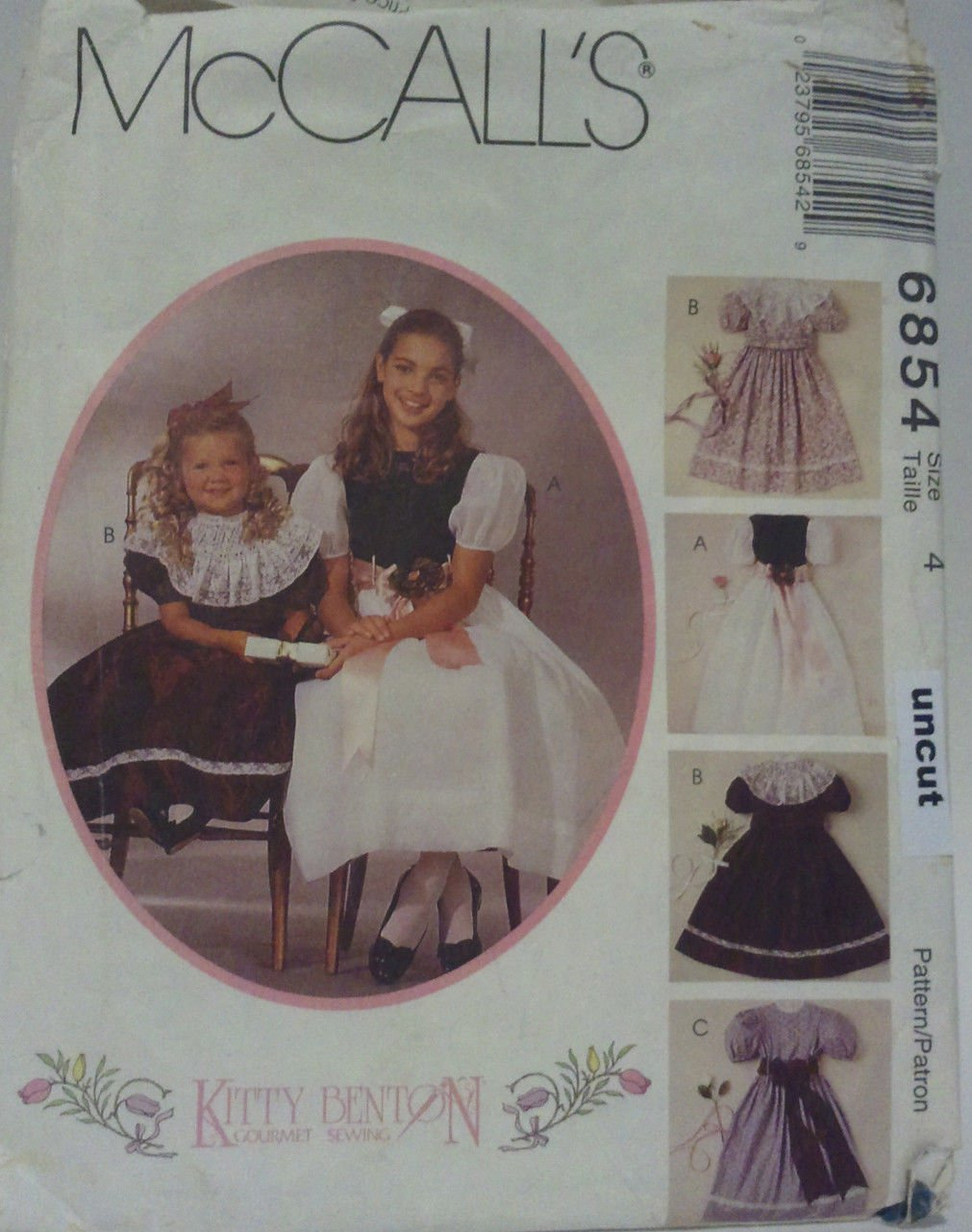 McCall 6854 Pattern Uncut Party Dress Slip Detachable Collar 4 Kitty Benton