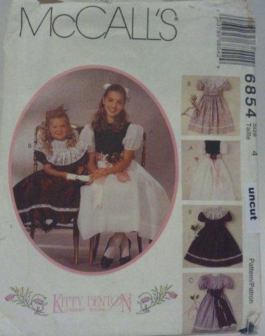 McCall 6854 Pattern Uncut Party Dress Slip Detachable Collar 4 Kitty Benton