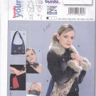 Burda 8560 Uncut Hobo or Evening Bag Purse Faux Fur Collar Cuff Trim Rose Choker