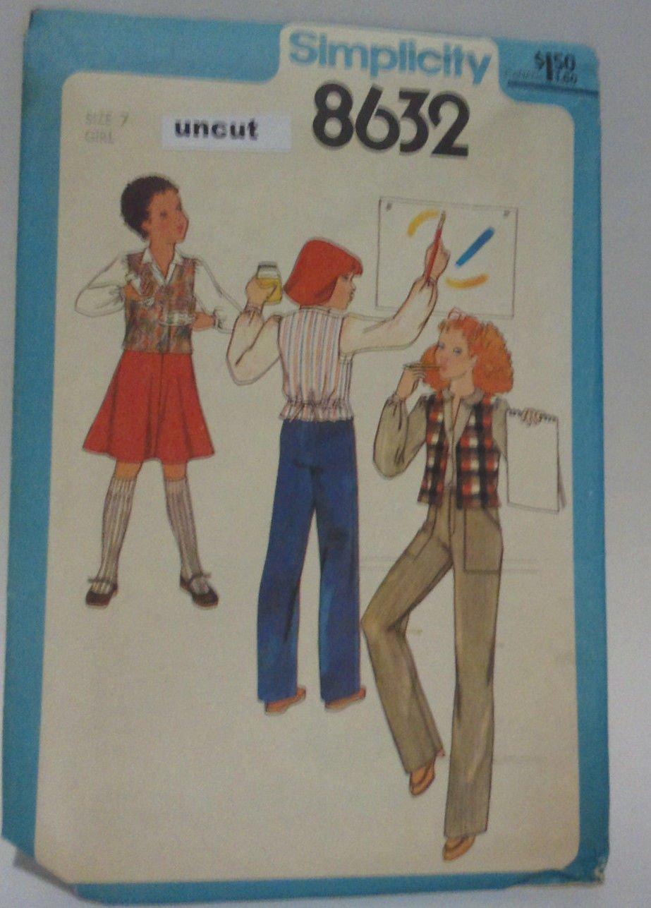 Vintage Simplicity 8632 Pattern Uncut Bias Skirt Pants Vest Girls 7