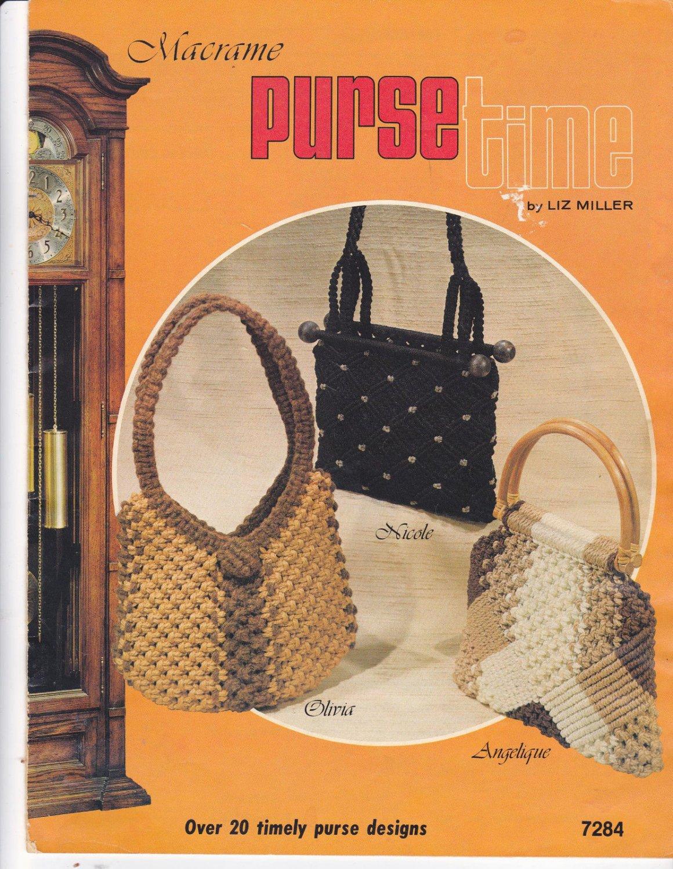 Vtg Macrame Purse Time Pattern Book Liz Miller Plaid 7284