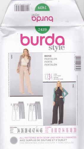 Burda Style 7439 Uncut 8 10 12 14 16 18 20 Wide Leg Pants Front Pleats Back Darts