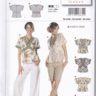 Burda 7834 Uncut 6 8 10 12 14 16 Blouse Top V Neck Contrast Bands Kimono Sleeves