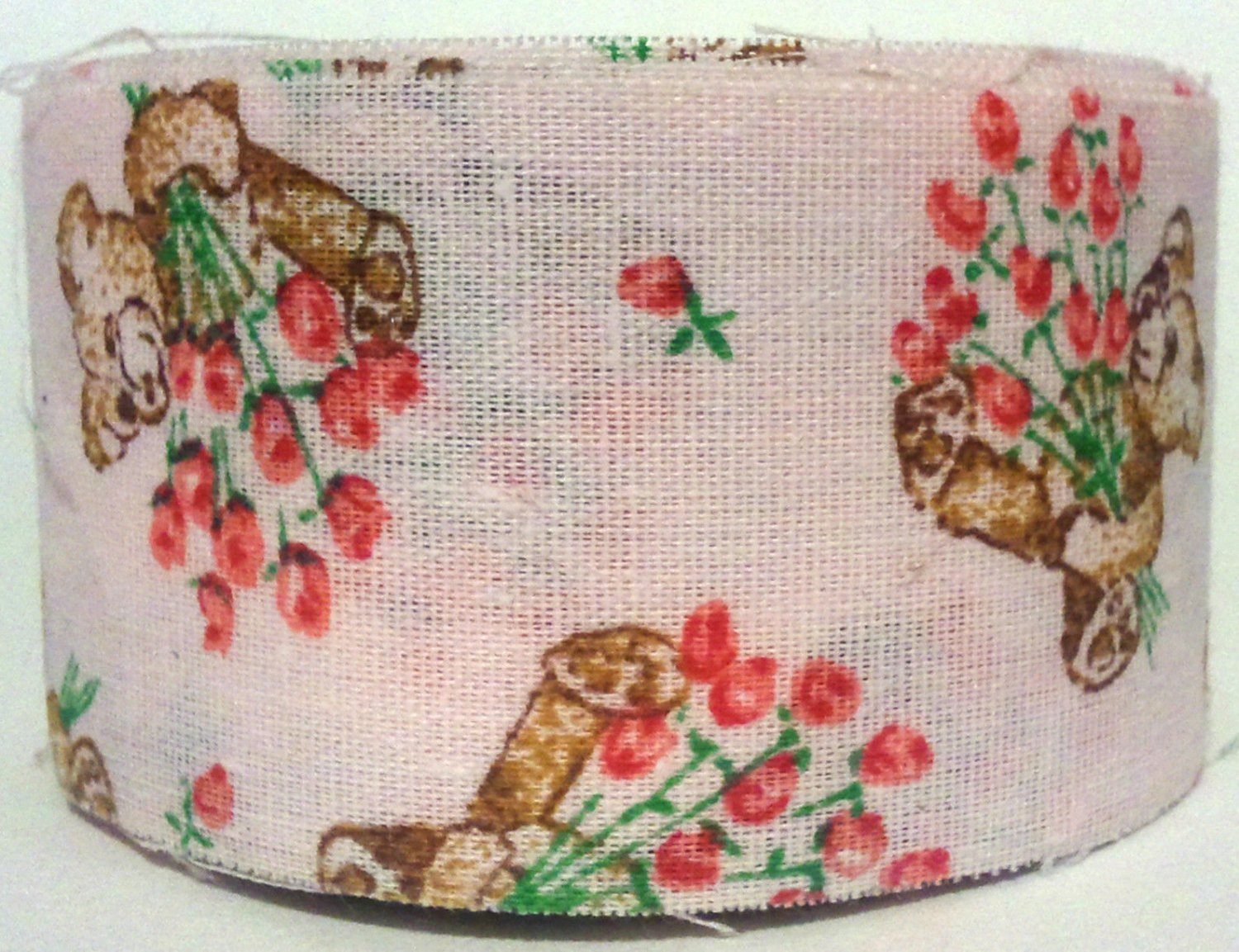 Cotton Fabric Ribbon Pink Teddy Bears Roses 1-3/8 inches 6y Unfinished