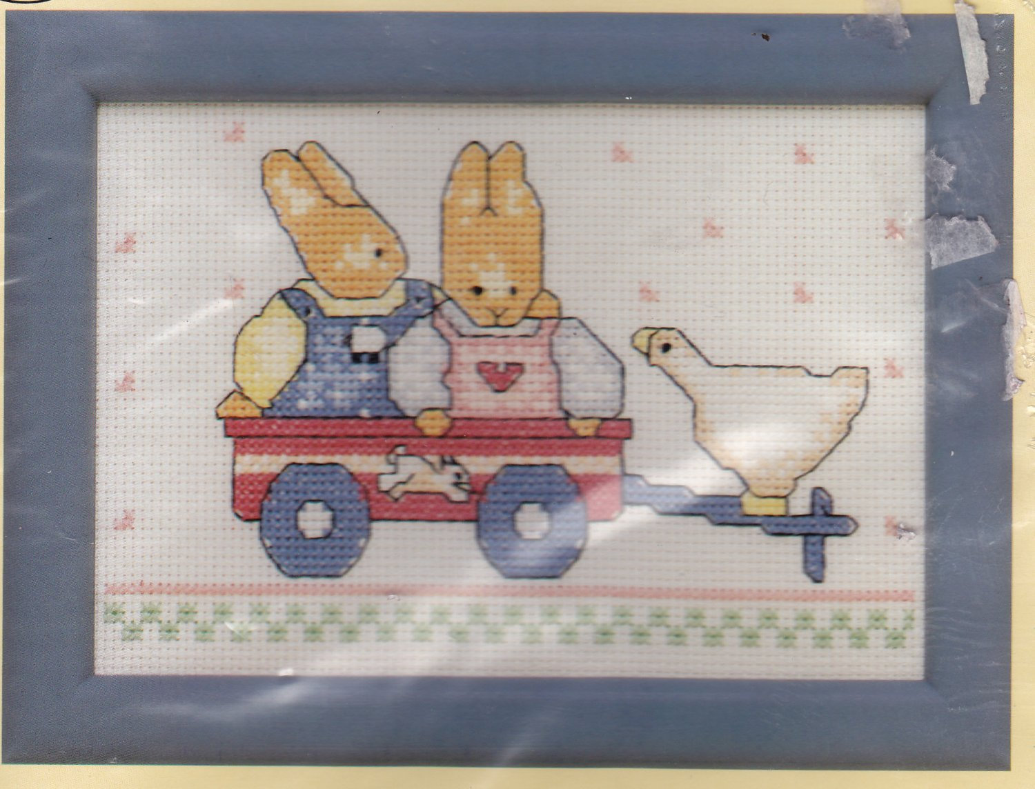 Wagon Buddies Bunnies Duck or Chicken Counted Cross Stitch Kit with Frame