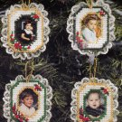 Plastic Canvas Christmas Bucilla Photo Frame Ornament Kit set of 4