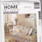 McCall's 8660 Pattern Uncut Pillows, Slip Covers for Couch Chair Ottoman Recliner
