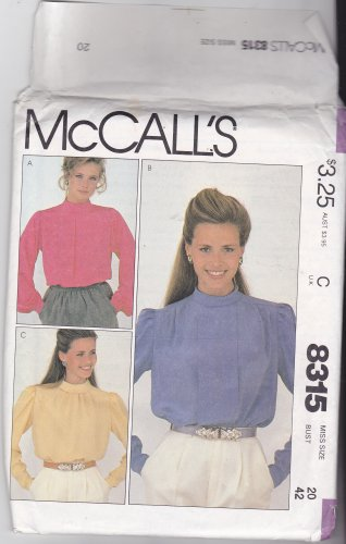 McCall's 8315 Uncut 20 Long Sleeve Pullover Blouses with Pleats
