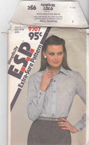Simplicity Pattern 9707 Uncut 8 10 12 Top Stitched Button Front Shirt Long Set In Sleeves ESP