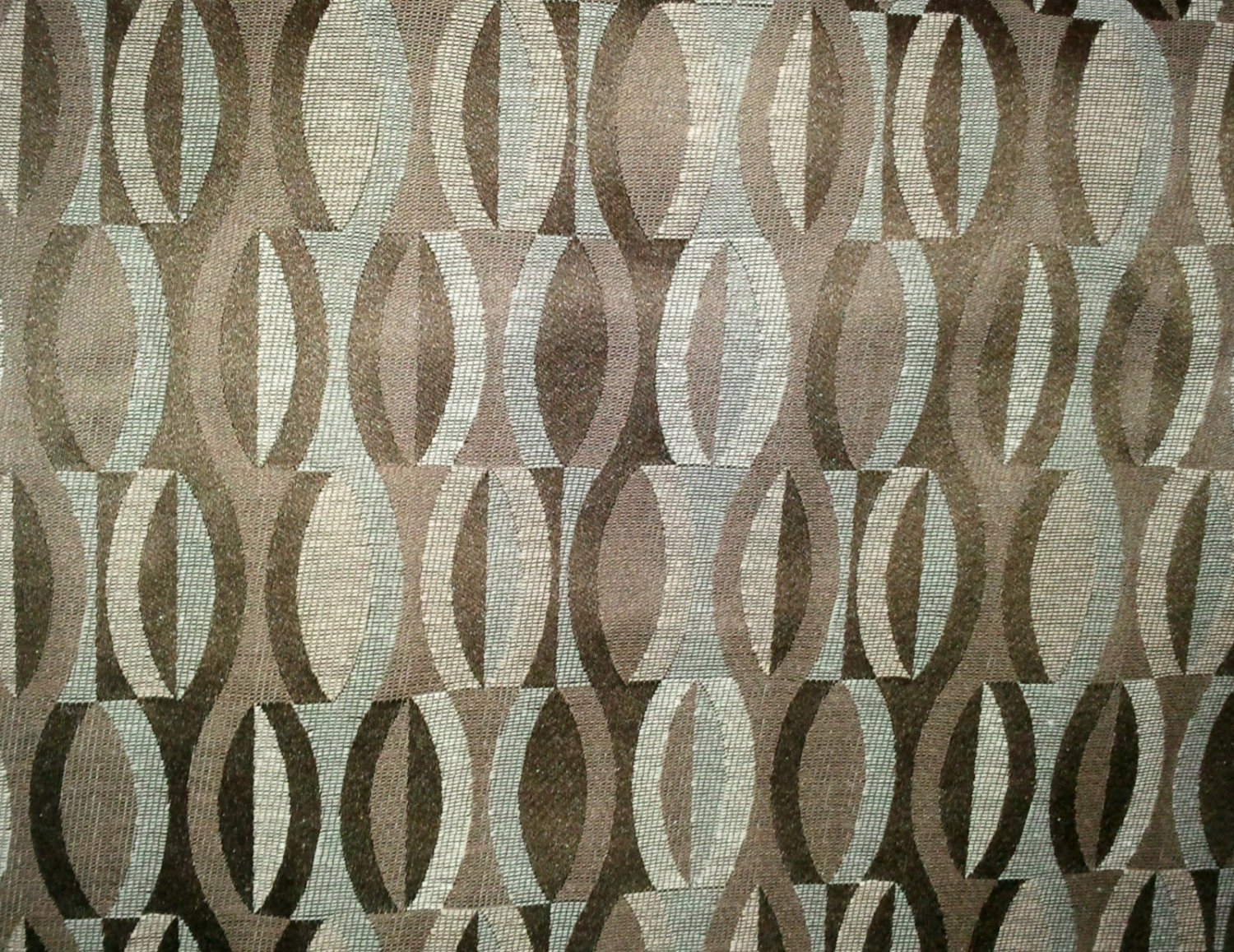 Shades of Brown & Beige Upholstery Fabric 1 yard Remnant Split Ovals